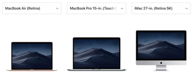 Macs on Apple's website