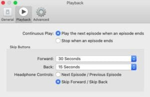 Playback settings in Podcasts app macOS Catalina