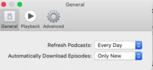 Podcasts app episode refresh and download settings