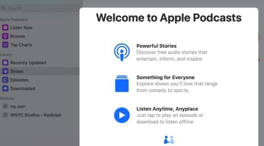 Podcast app in macOS Catalina