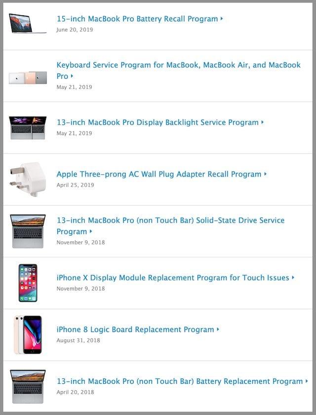 Sample of repair and exchange programs on Apple's website