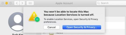 Find My Mac in macOS Catalina