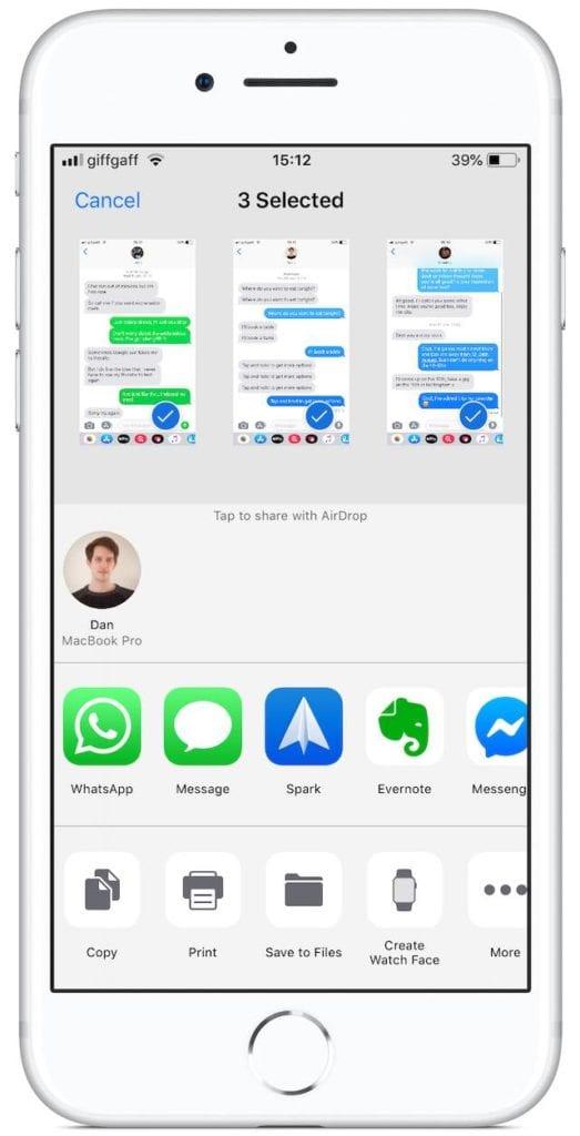 Share screen for text message screenshots
