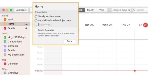 Share iCloud Calendar Mac