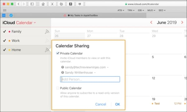 Share iCloud Calendar iCloud.com