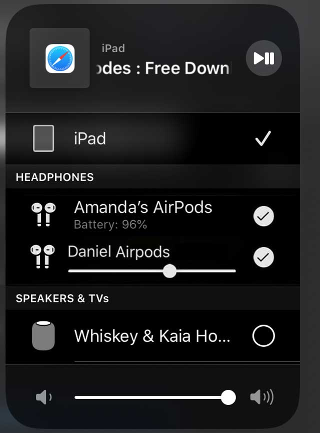 share your iPhone's audio with 2 sets of AirPods of PowerBeats Pro