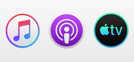 Music, Podcasts, and TV app icons that replace iTunes in macOS Catalina