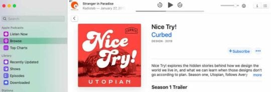 How to subscribe to new podcast shows in macOS Catalina