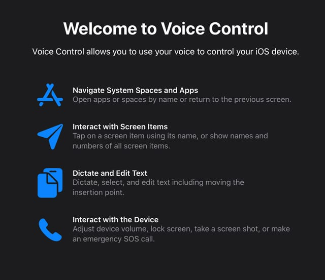 welcome to voice control splash screen for iOS 13and iPadOS