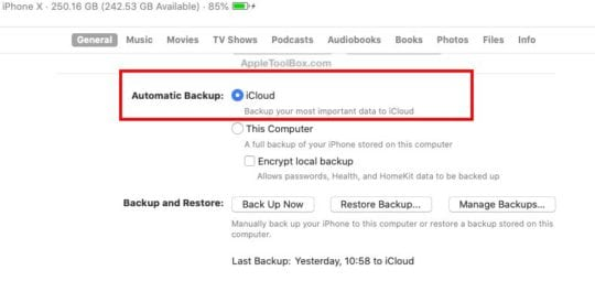 Where is iCloud Backup in macOS Catalina