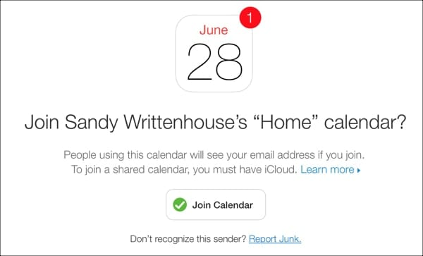 Email to Join Calendar