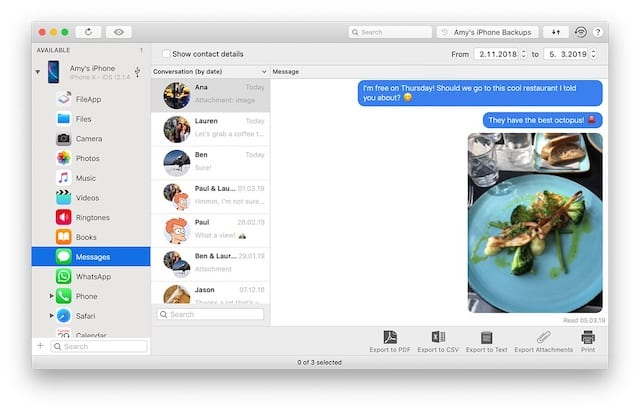 iMazing screenshot of iPhone text messages to print