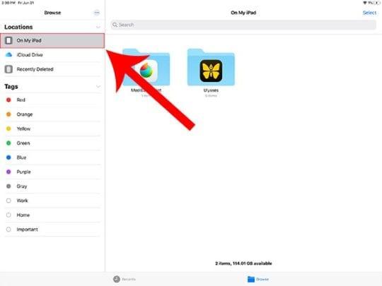 iPadOS Files - Local Storage