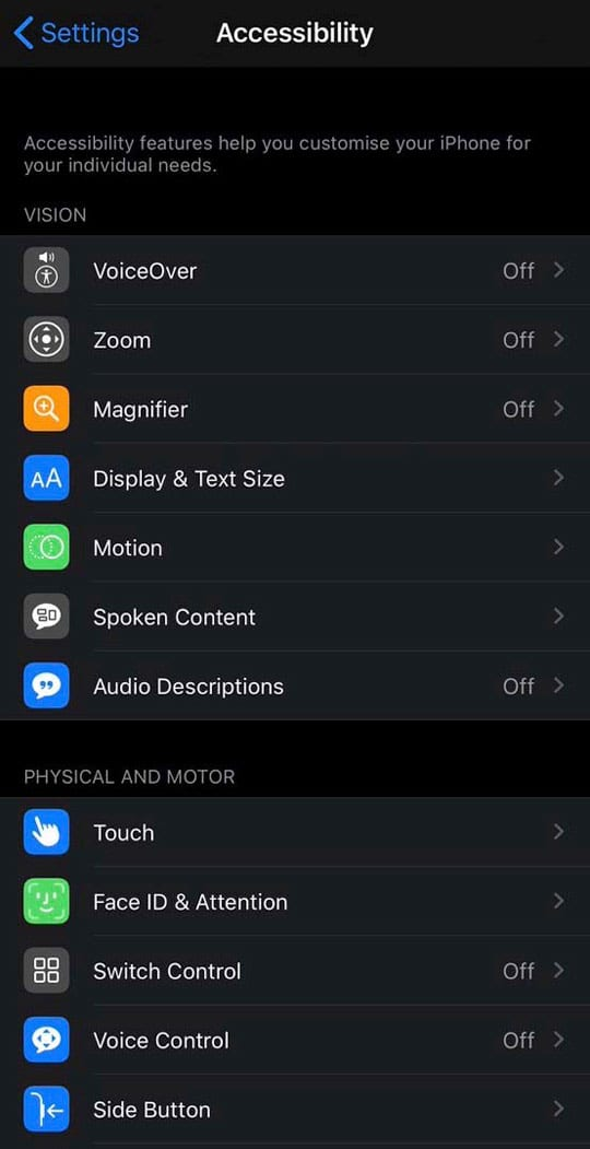 accessibility settings on iO13 and iPadOS