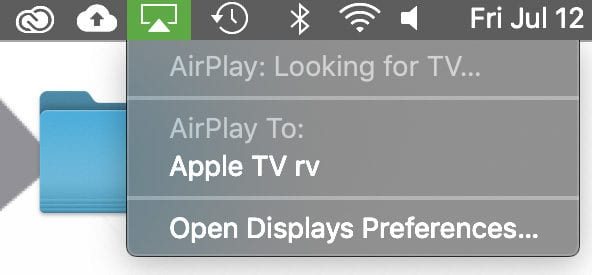 mac top menu AirPlay icon