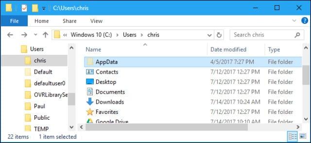 AppData folder in Windows File Explorer