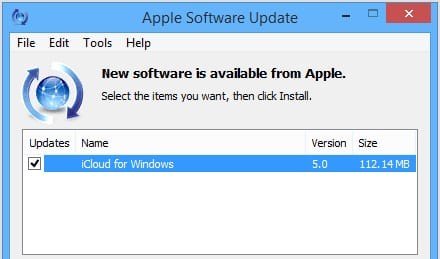 Apple Software Update iCloud for Windows