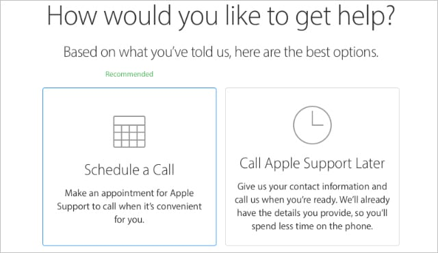 Apple Support call options