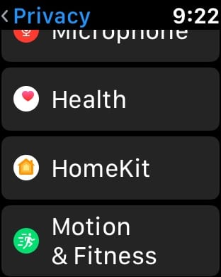 Apple Watch Privacy Setting