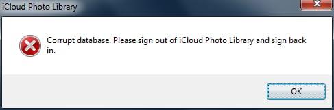 Corrupted database Windows error message