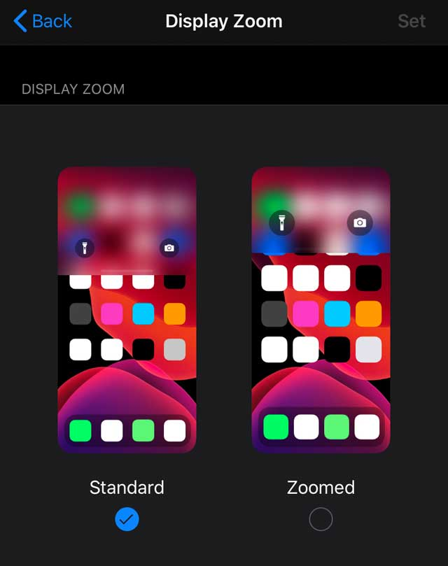 display zoom on iOS 13 dark mode iPhone