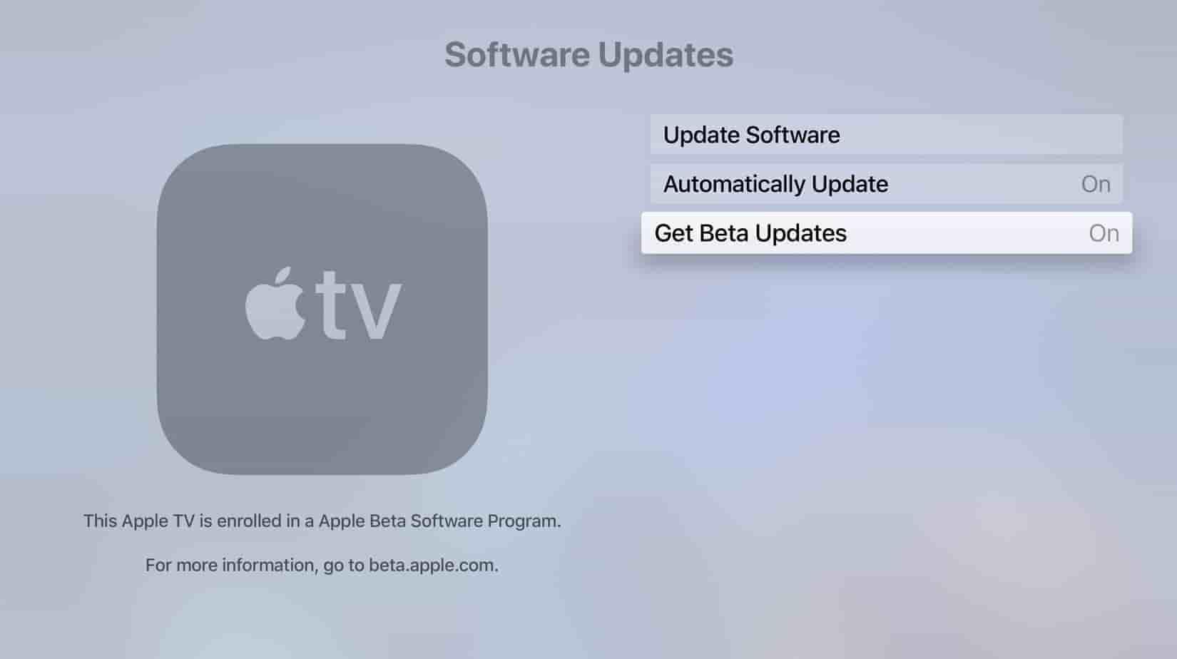 Enable tvOS 13 Beta
