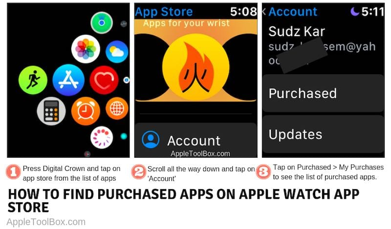 Find purchased apps on apple watch app store