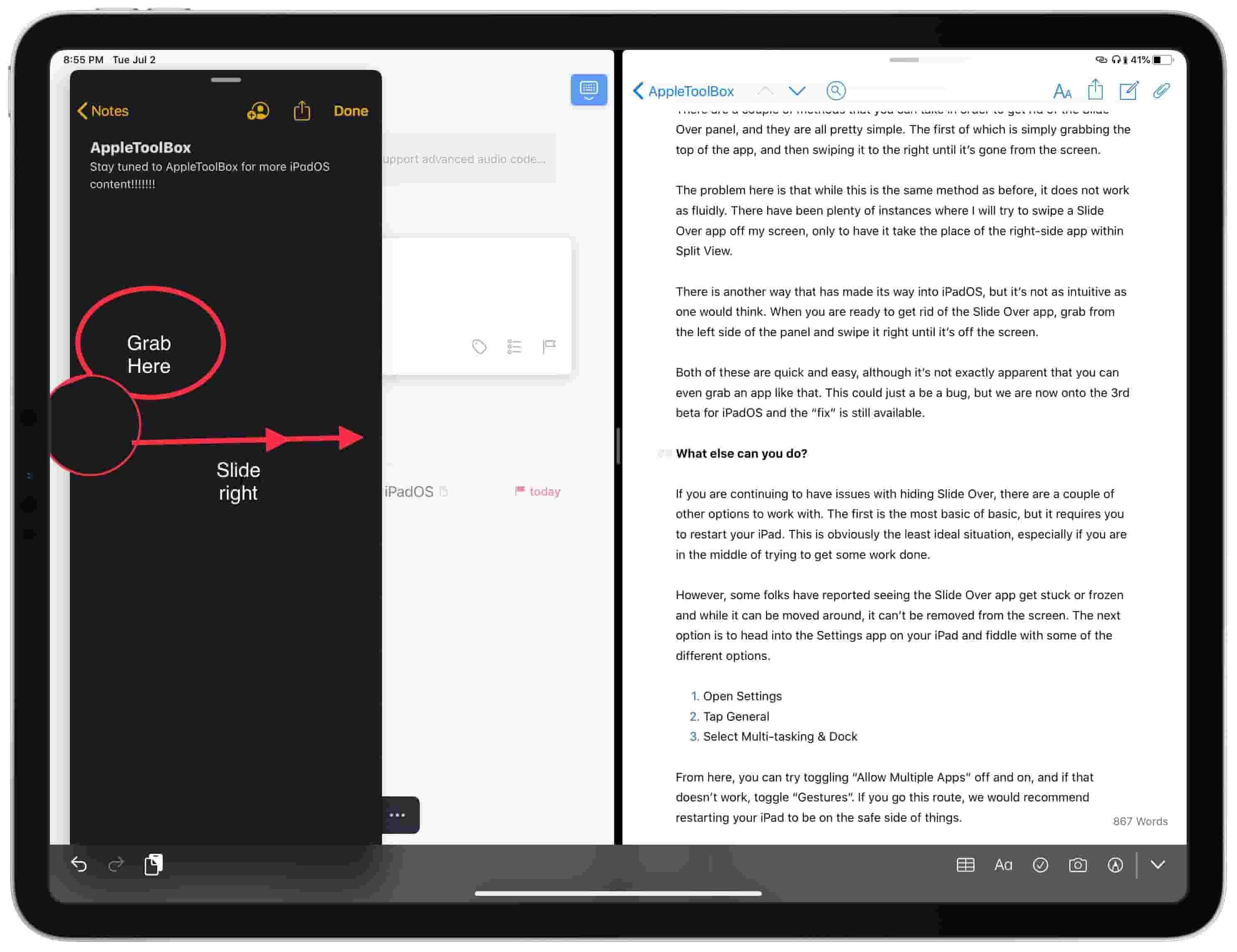 hide Slide Over in on iPadOS