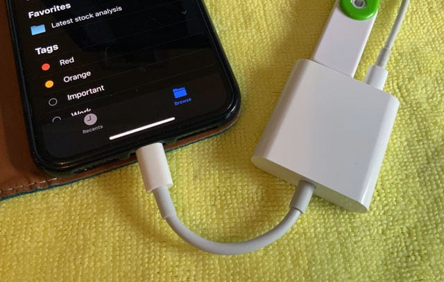 connect your external drive using a lightning adapter