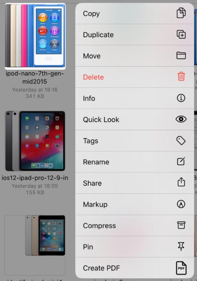 Menu in Files app