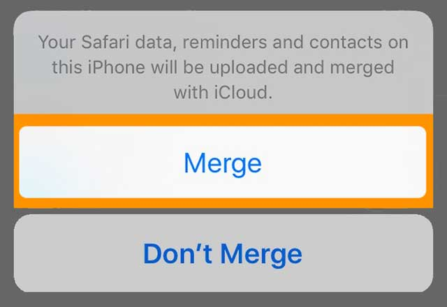 merge iPhone data with iCloud