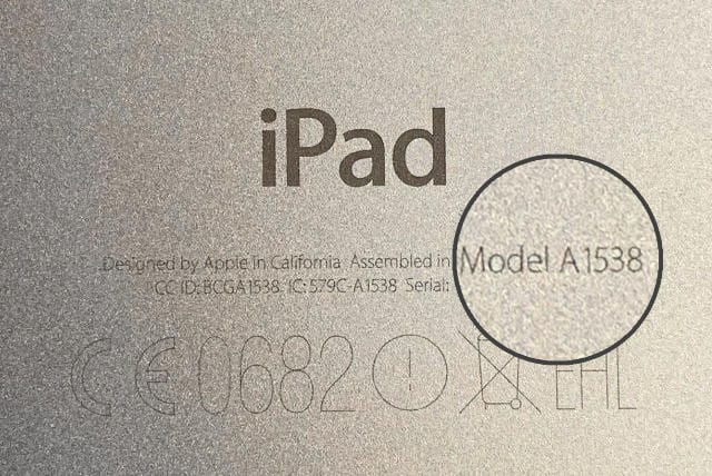Model number on the back of iPad