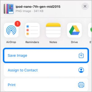 Save Image option in Share Sheet