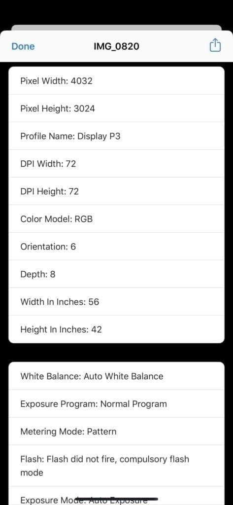 iOS 13 View Photos metadata