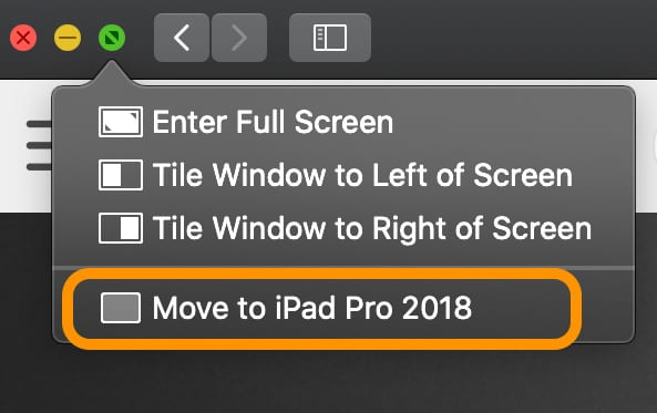 move app window from Mac to iPad using Sidecar