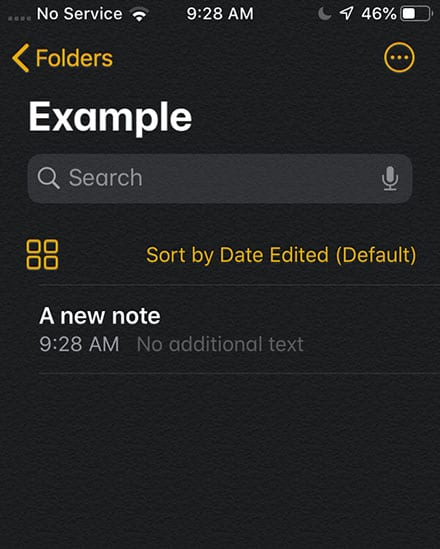 iOS 13 Notes Default Sort