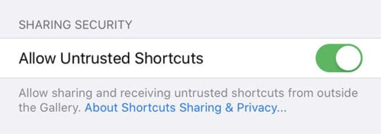 iOS 13 Untrusted Shortcuts