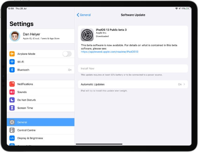 iPad Pro Beta Software Update