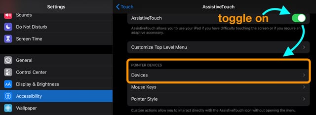 set up a mouse for iPadOS in accessibility settings