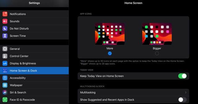Home screen & Dock settings on iPadOS