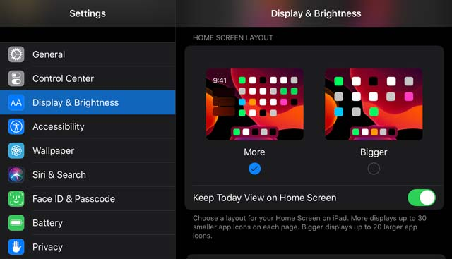 iPadOS Today View settings