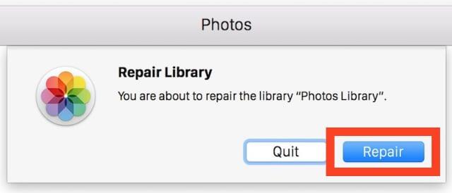 macOS Photos repair library