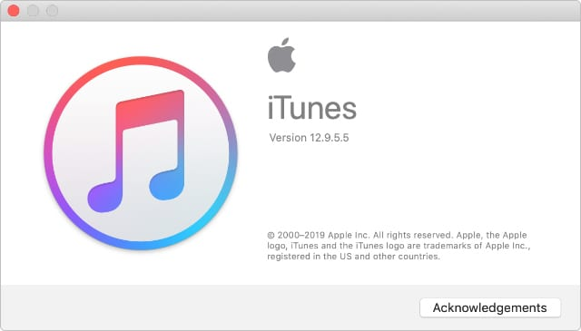 About iTunes window