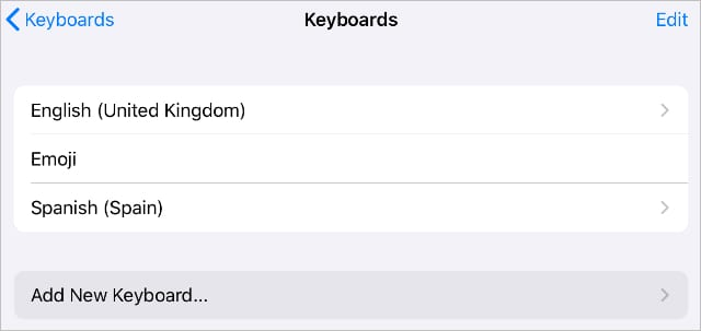 Add New Keyboard button in Keyboard settings on iPadOS