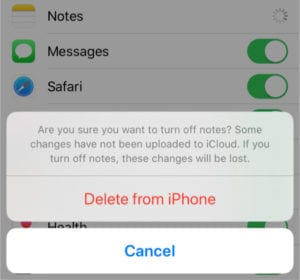 Alert asking to Delete Notes from iPhone after turning off iCloud sync
