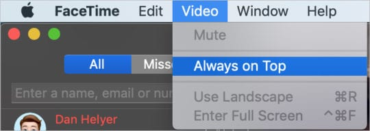 Always on Top option in FaceTime on Mac