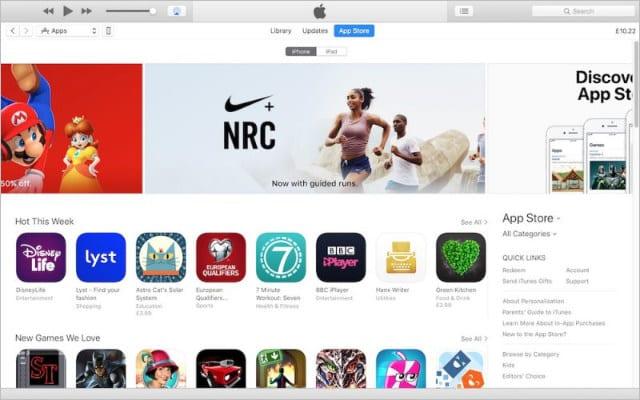App Store in iTunes 12.6.4