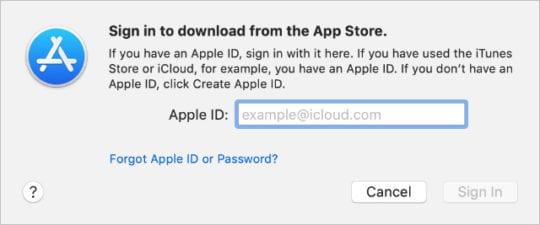 App Store sign in window