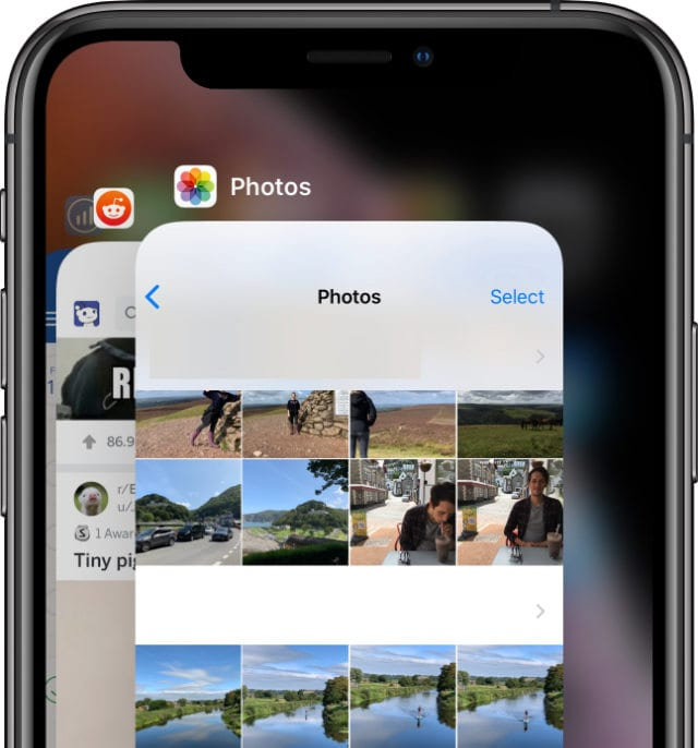 App Switcher on iPhone XS closing down the Photos app