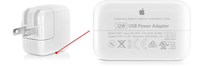 Apple 12W USB Power Adapter showing bottom label